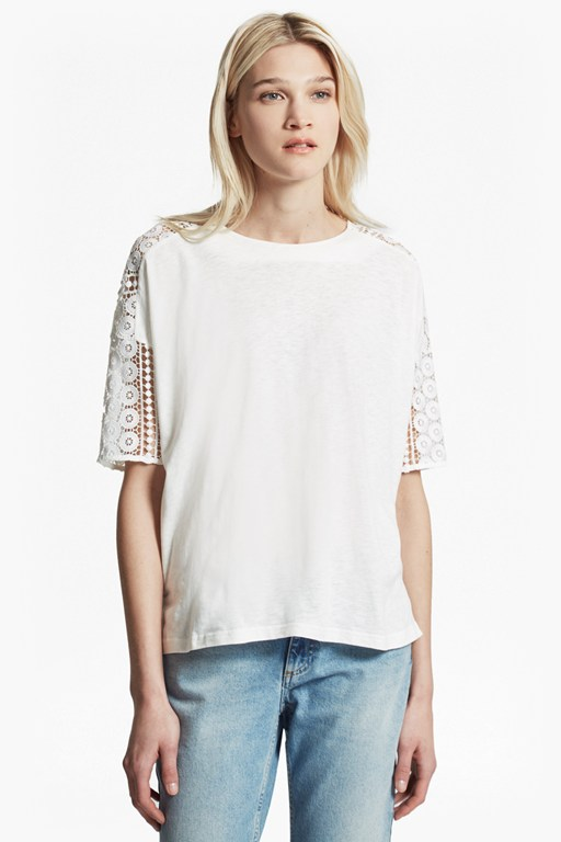 Complete the Look Dune Lace Crochet Oversized T-Shirt