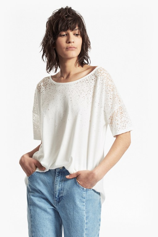 sheer space devore burnout oversized t-shirt