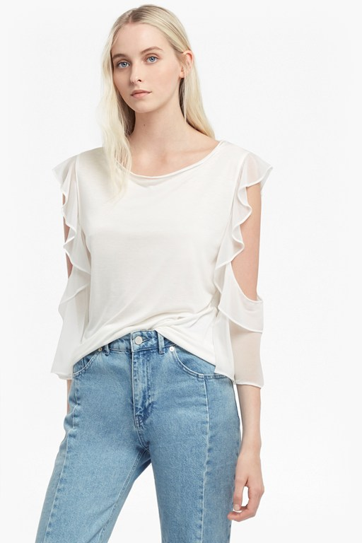 Complete the Look Ruffle Mix Jersey Top