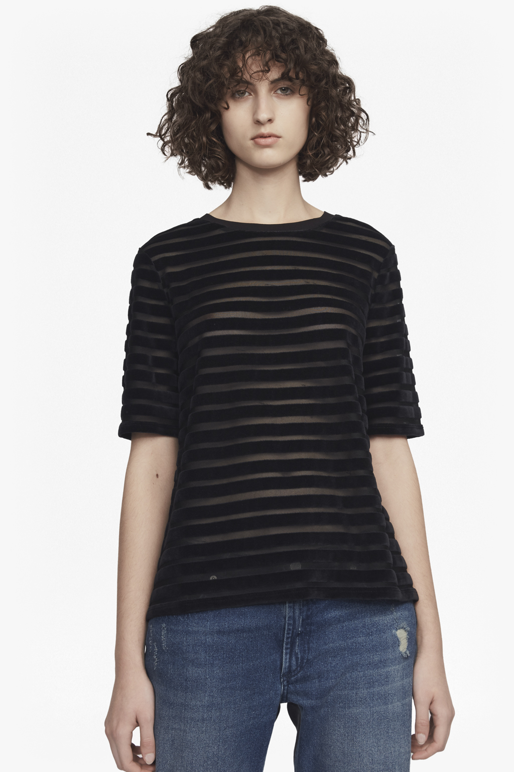 French Connection Womens Bernice Velvet Stripe Jersey Top