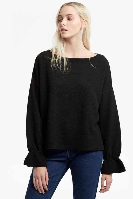 Complete the Look Ellen Fluted Sleeve Textured Jumper