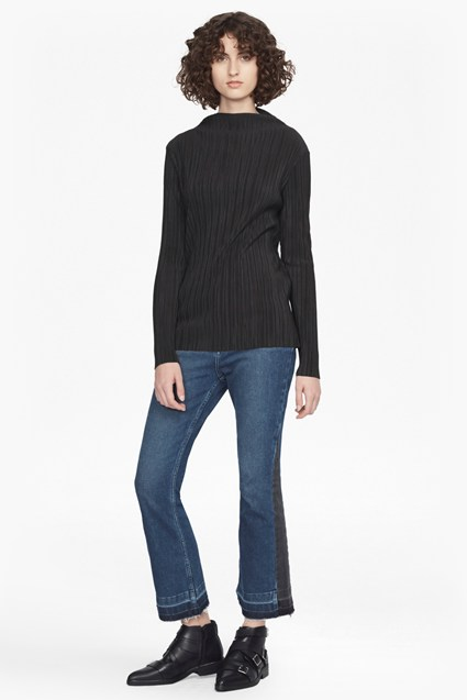 Lou Pleated High Neck Top