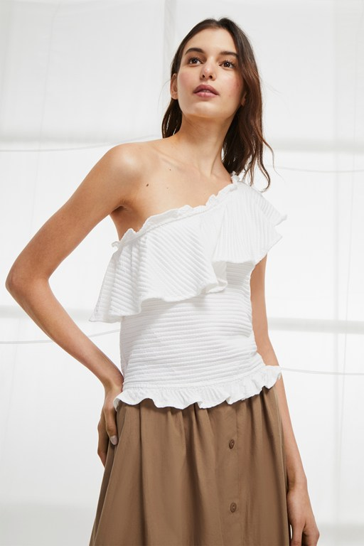 tripola jersey off shoulder ruffle top