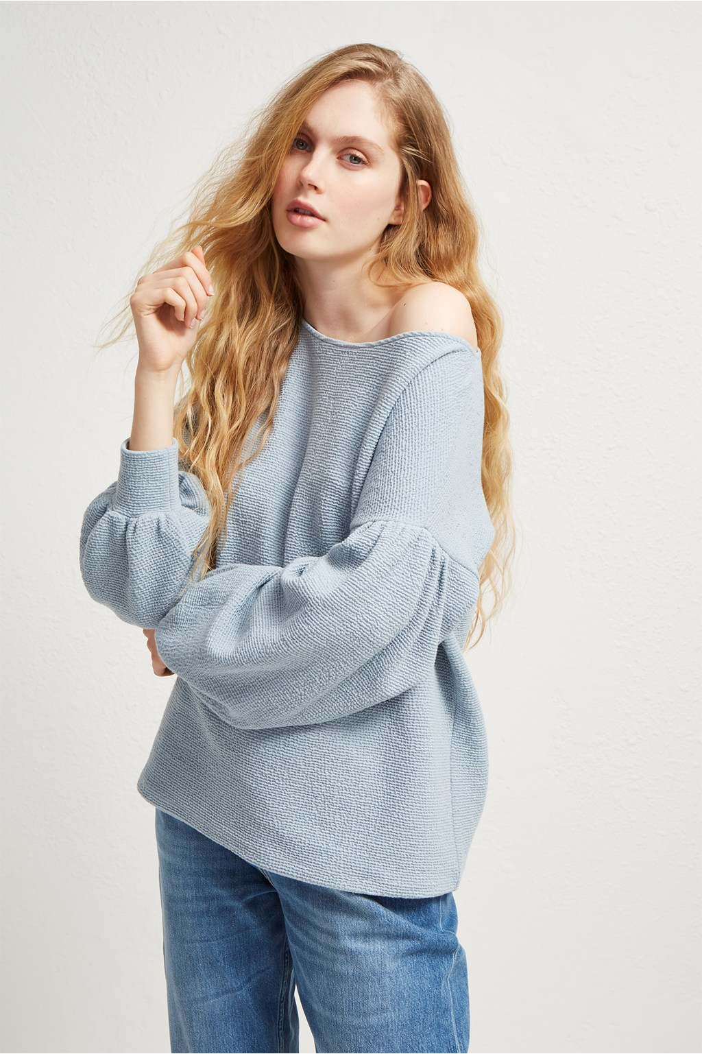 5d916932303585 Ellen Textured Balloon Sleeve Sweater | Sale | French Connection Usa