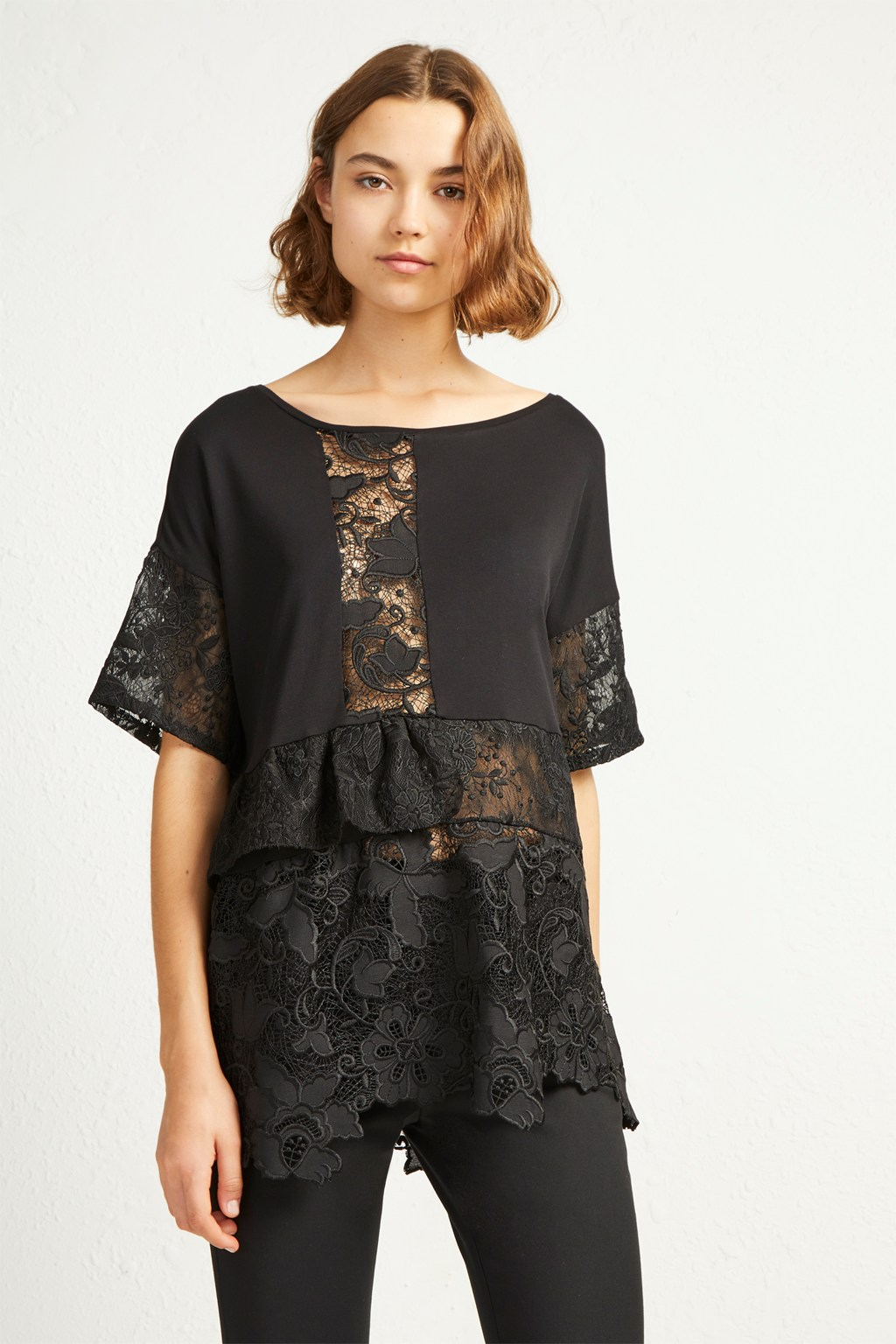 Anes Lace Jersey Top