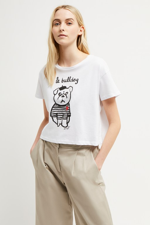 le bulldog heart crop top