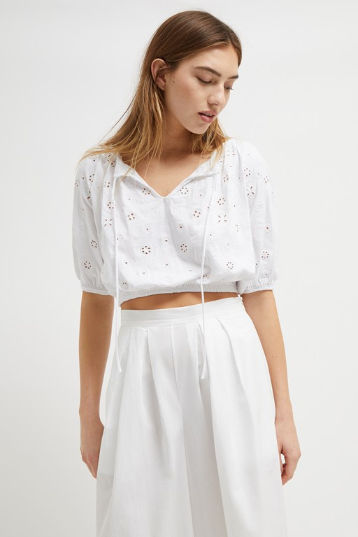 santoline broderie cropped shirt