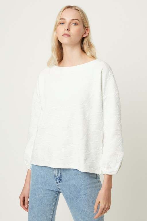 sicily textured jersey balloon sleeve top