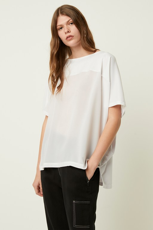 tanja satin mix boat neck top
