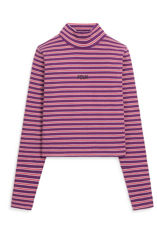fcuk stripe longsleeve roll neck top