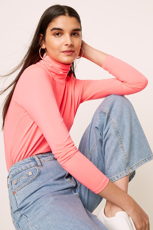 neon jersey long sleeve high neck top