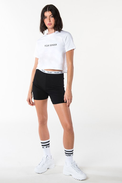 fcuk gender short sleeve crop top