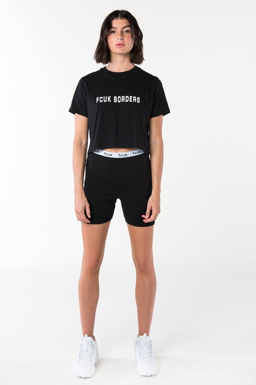 fcuk borders short sleeve crop top