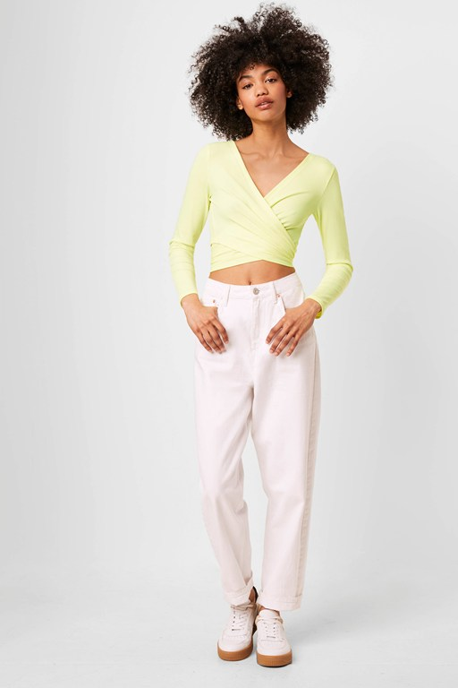 samaya ribbed jersey wrap top