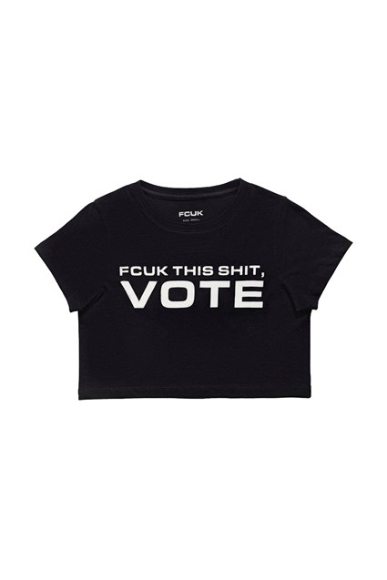 FCUK VOTE CROPPED BABYFIT TEE