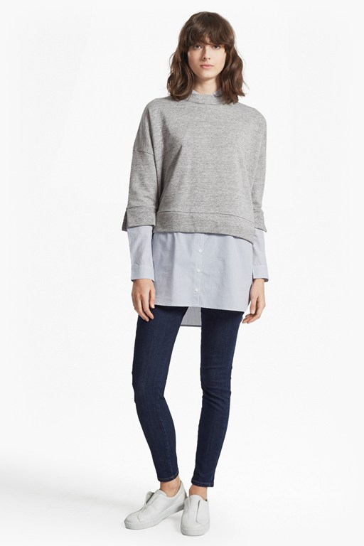 dune mix shirting detailed sweatshirt