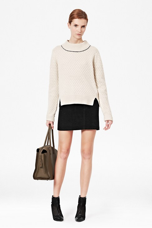 Popcorn Knitted Long Sleeved Jumper