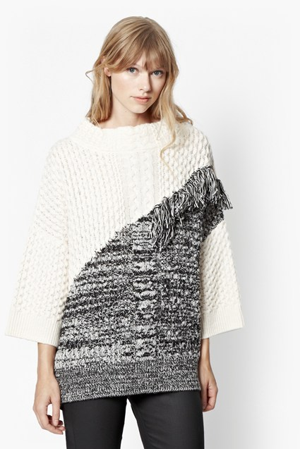 Fringed Cable Knit Jumper