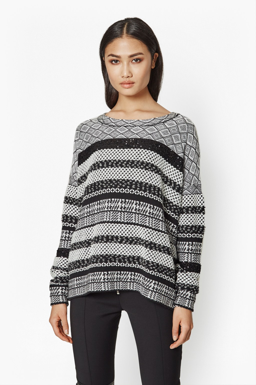 Monochrome Mix Pattern Jumper