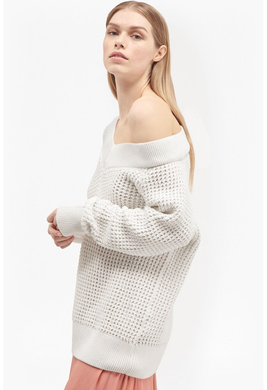Waffle Off The Shoulder Knit