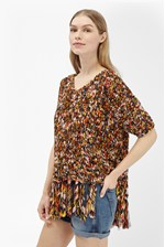 Looks Great With Space Chiffon Knits Tassel Jumper
