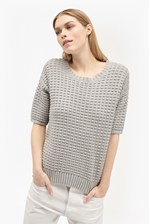Looks Great With Popcorn Stitch Short Sleeved Knit