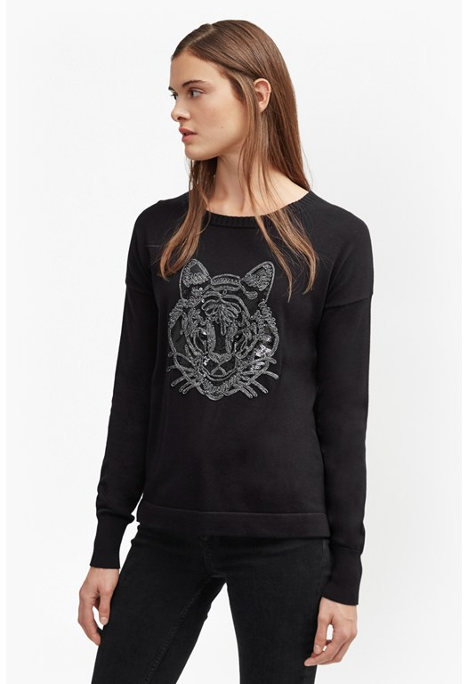 Animal Knit Tiger Sequin Jumper