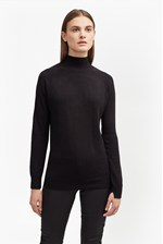 Looks Great With Rose Knit Turtle Neck Jumper