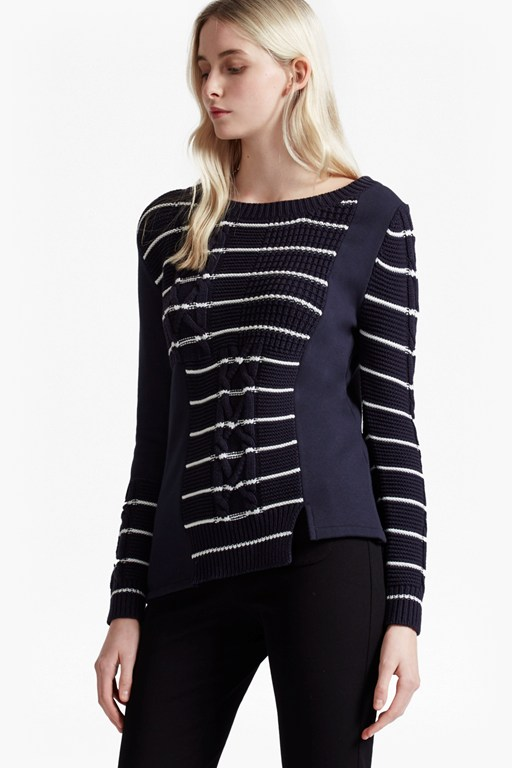 Complete the Look Striped Cable Knit Jumper