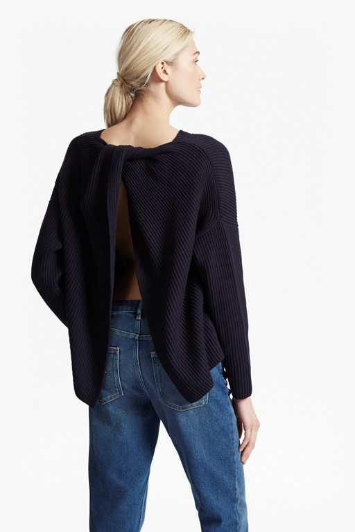Complete the Look Twist Back Shaker Jumper