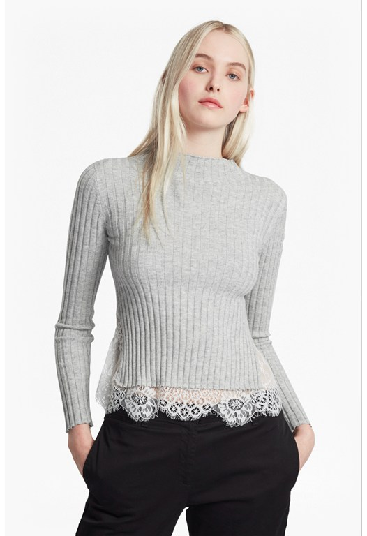 Nicola Rib Knit Lace Trim Jumper