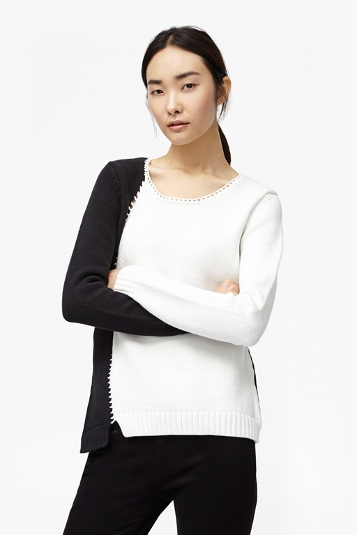 2 tone asymmetric knit