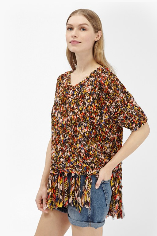 space chiffon knits tassel jumper