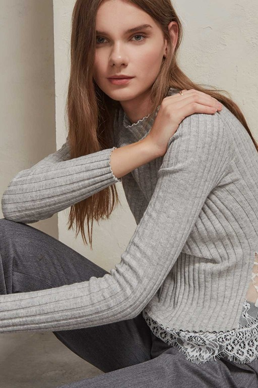 nicola knits lace high neck jumper