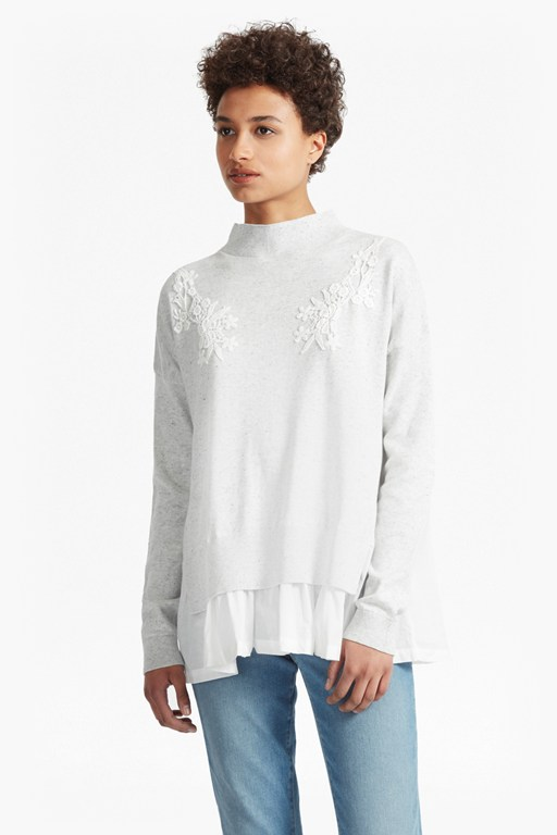 Complete the Look Spring Alice Frill Hem Embroidered Jumper
