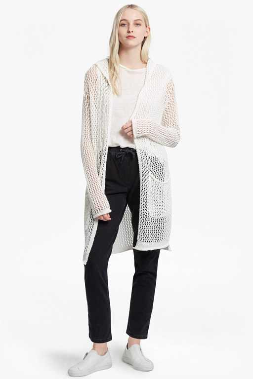 faye knit oversized fishnet cardigan