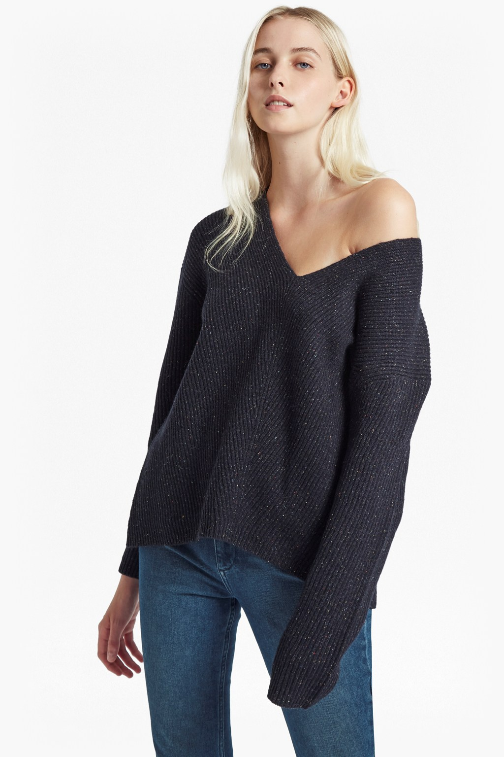 99642a9489be37 Two Tone Tweed Knit V Neck Jumper | Jackets | French Connection Usa