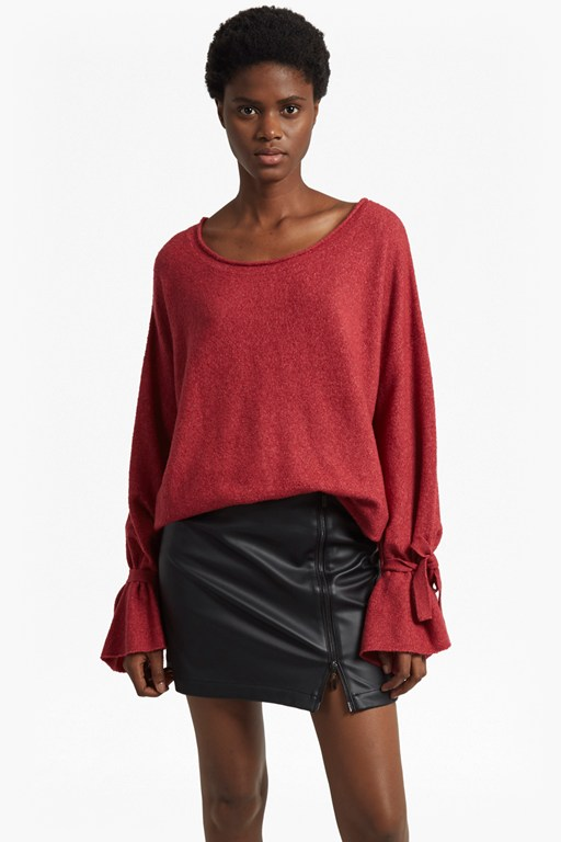 tie wrist scoop neck knit jumper