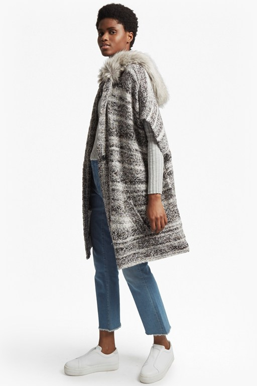 Complete the Look Irma Melange Knit Long Sleeved Cardigan Coat