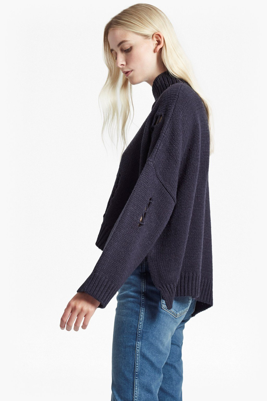 Nixo Knit Distressed High Neck Jumper