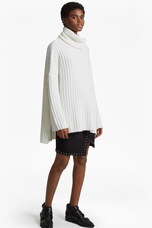 riva rib knit high neck jumper