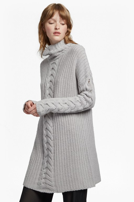 cashmere blend high neck cable knit jumper