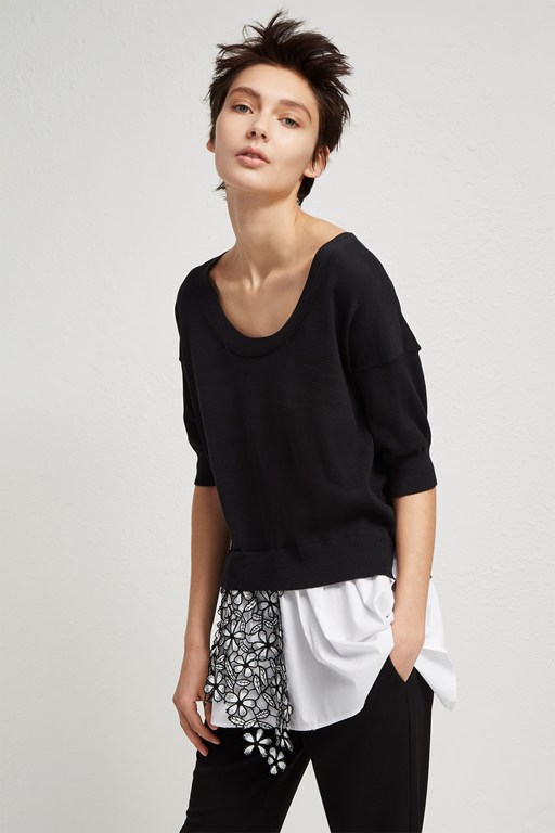 fulaga lace knit scoop neck jumper