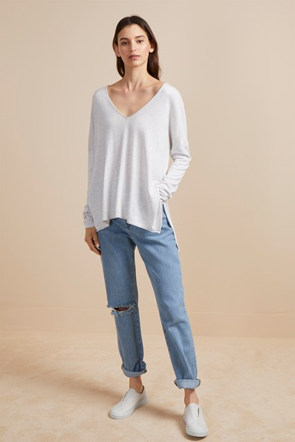 Heather Knit V Neck Jumper