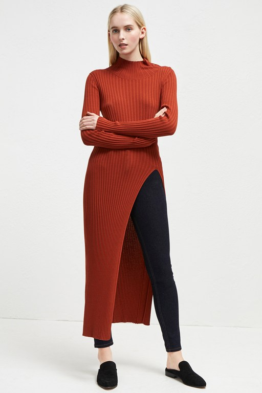 raven rib knit long split jumper