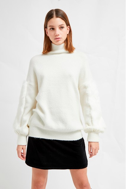 Normie Faux Fur Knit High Neck Jumper