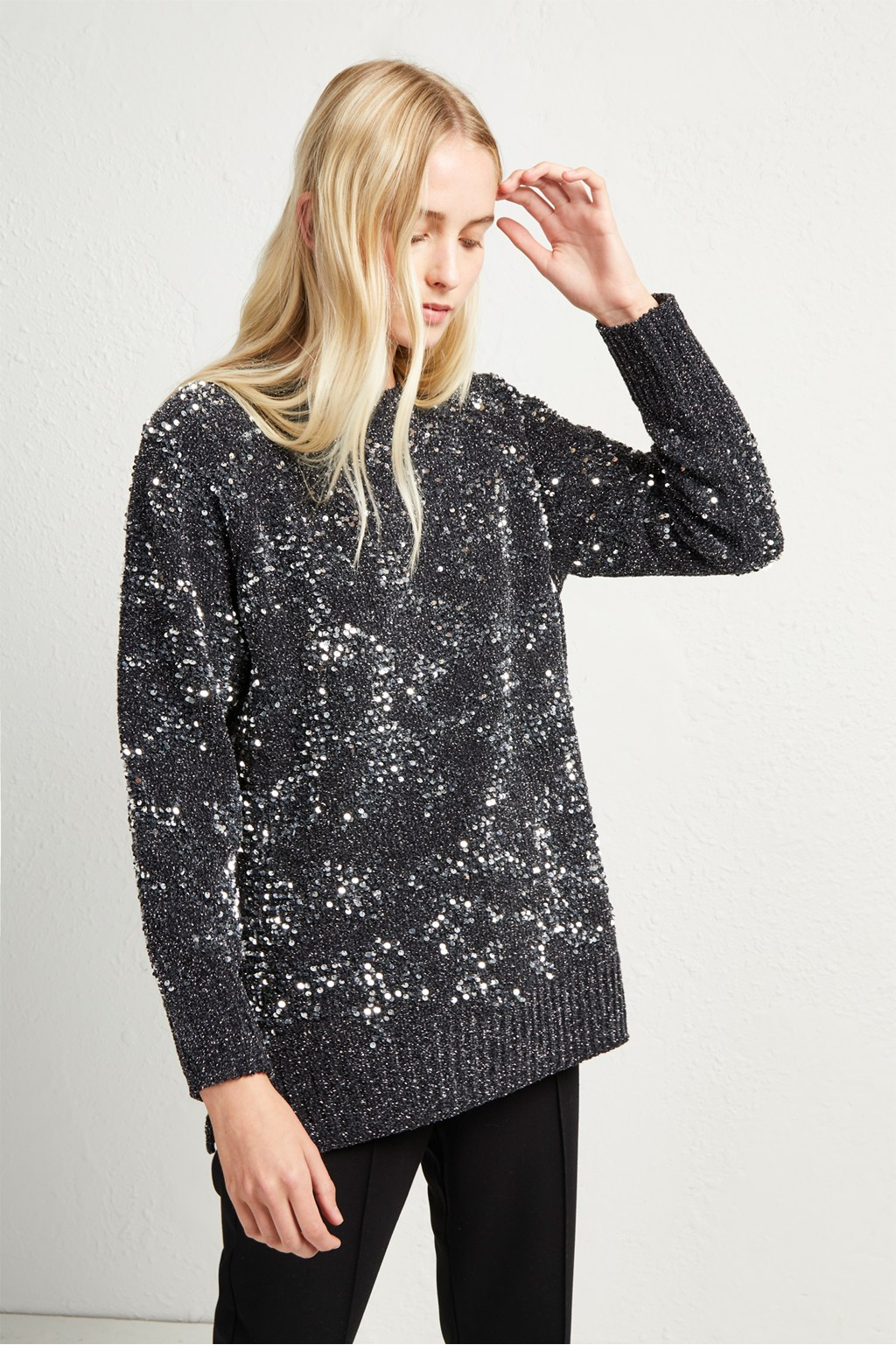 7361cff041bdd9 Rosemary Sequin Knit Jumper. loading images.