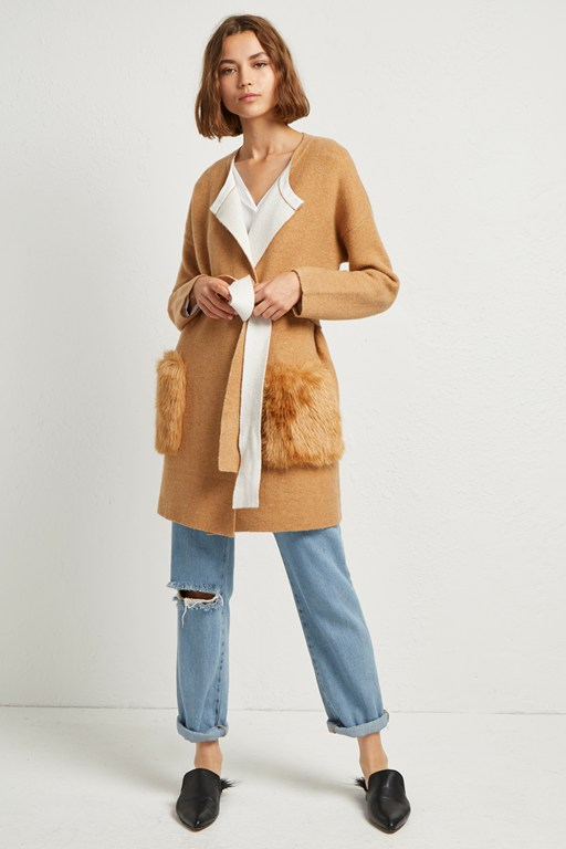 vhari faux fur pocket cardigan