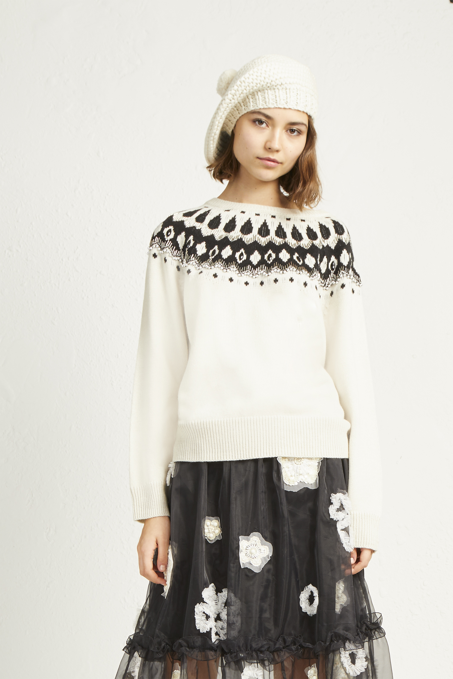 French Connection Womens Vera Embellished Fair Isle Pullover Sweater