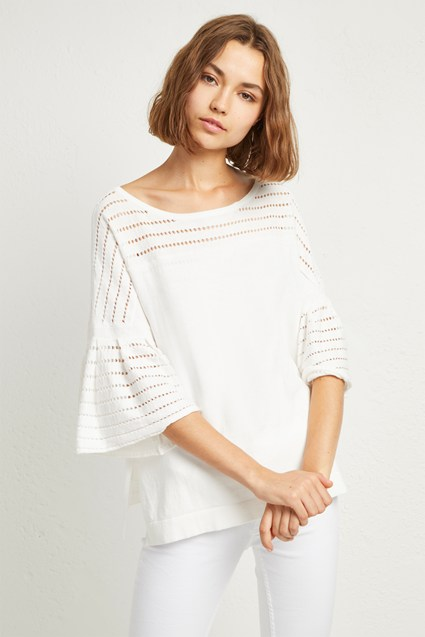 Luna Knit Fluted Sleeved Sweater
